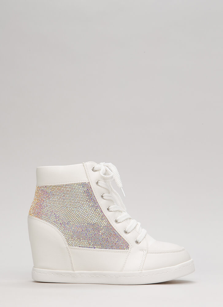 Sparkling Jewel Lace-Up Wedge Sneakers WHITE