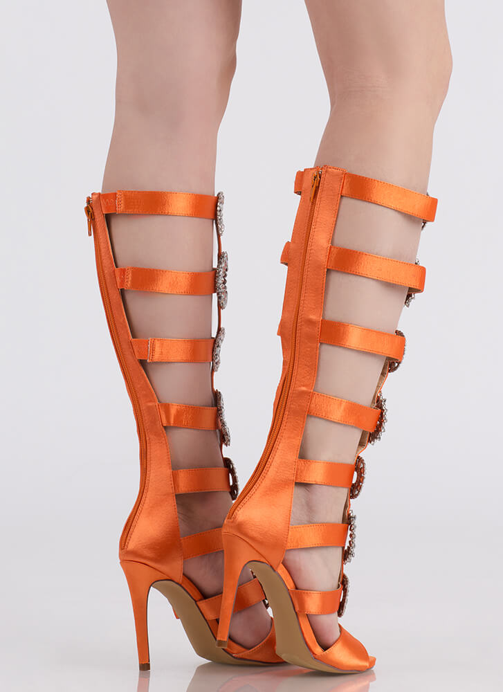 Glimmer Glamour Jeweled Gladiator Heels ORANGE (Final Sale)