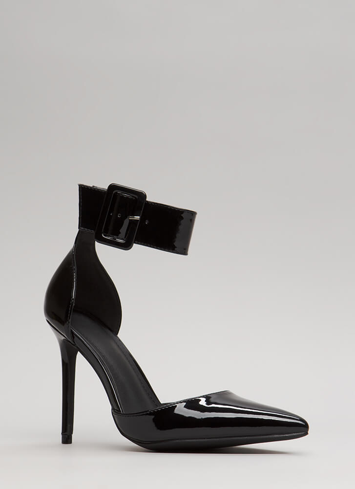 Classic Beauty Pointy Ankle Strap Heels BLACK