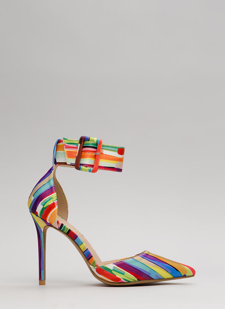 Classic Beauty Pointy Ankle Strap Heels MULTI