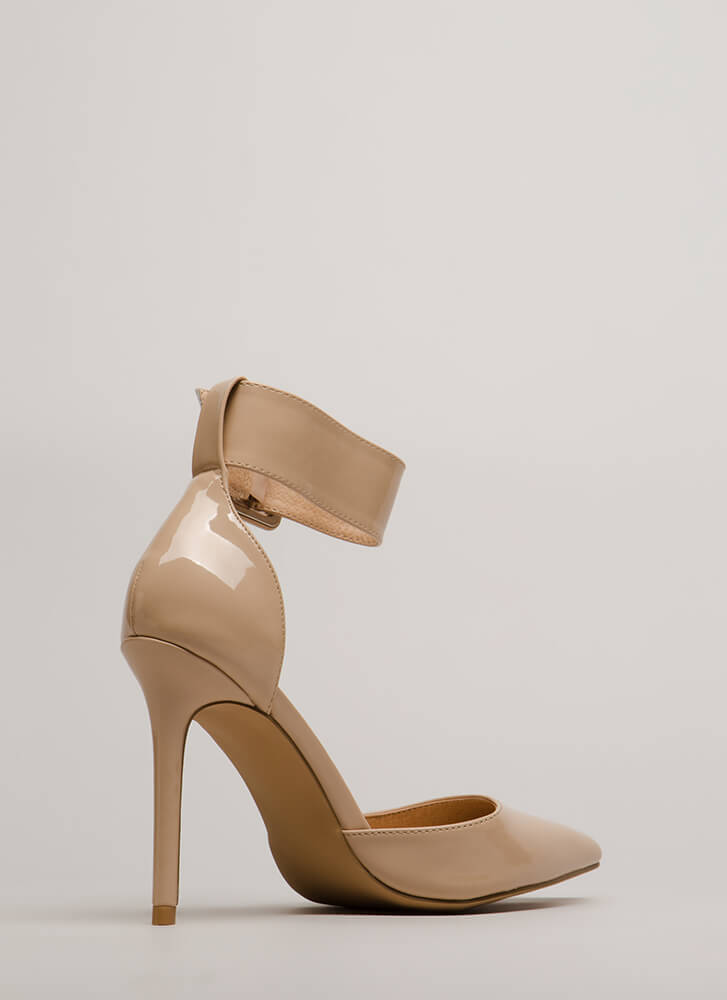 Classic Beauty Pointy Ankle Strap Heels NUDE
