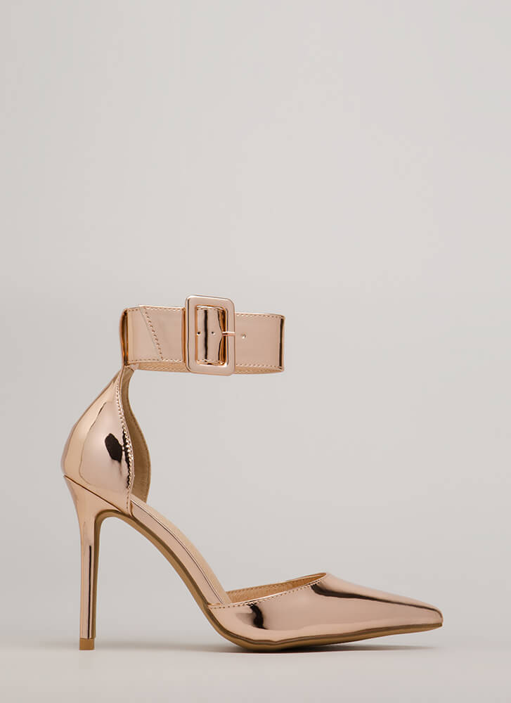 Classic Beauty Pointy Ankle Strap Heels ROSEGOLD