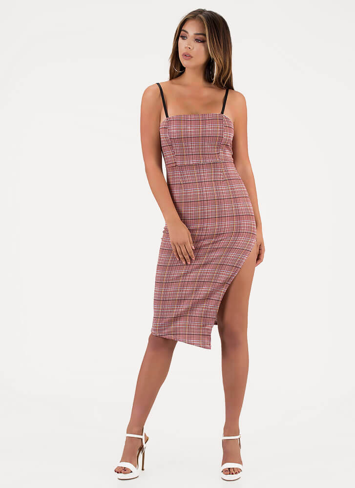 Perfect In Plaid Slit Midi Dress RED