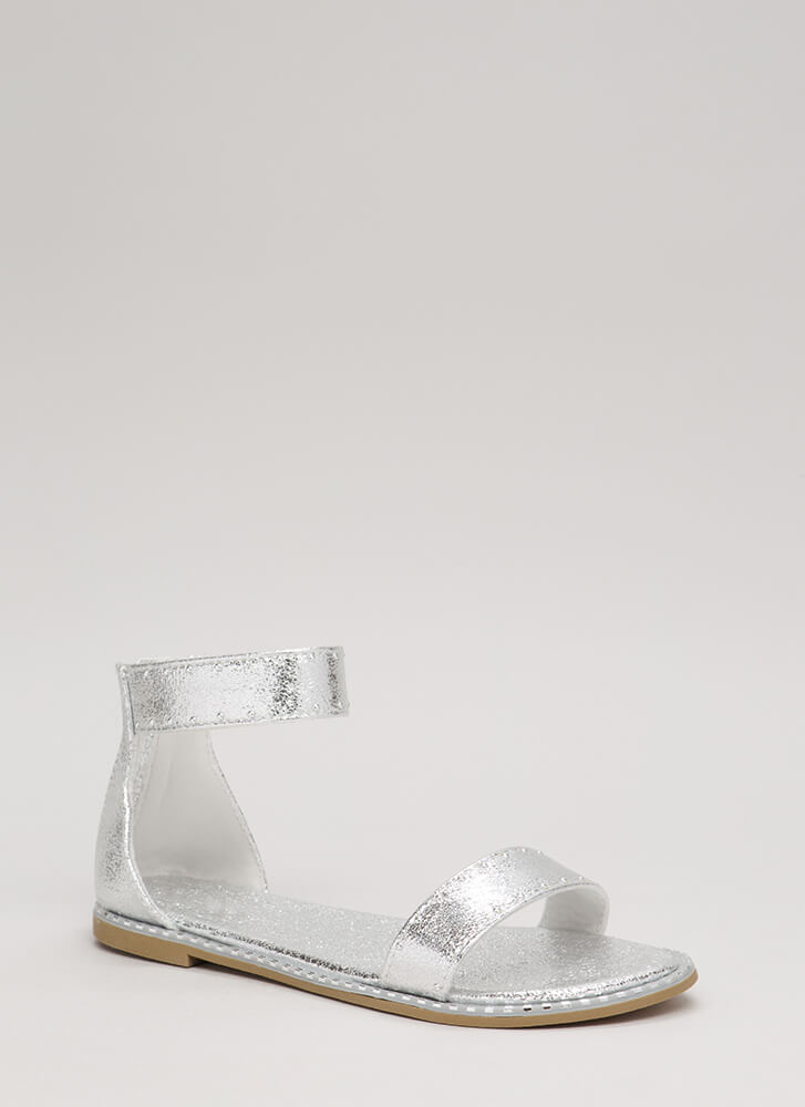 Minimalist Studded Foiled Sandals SILVER