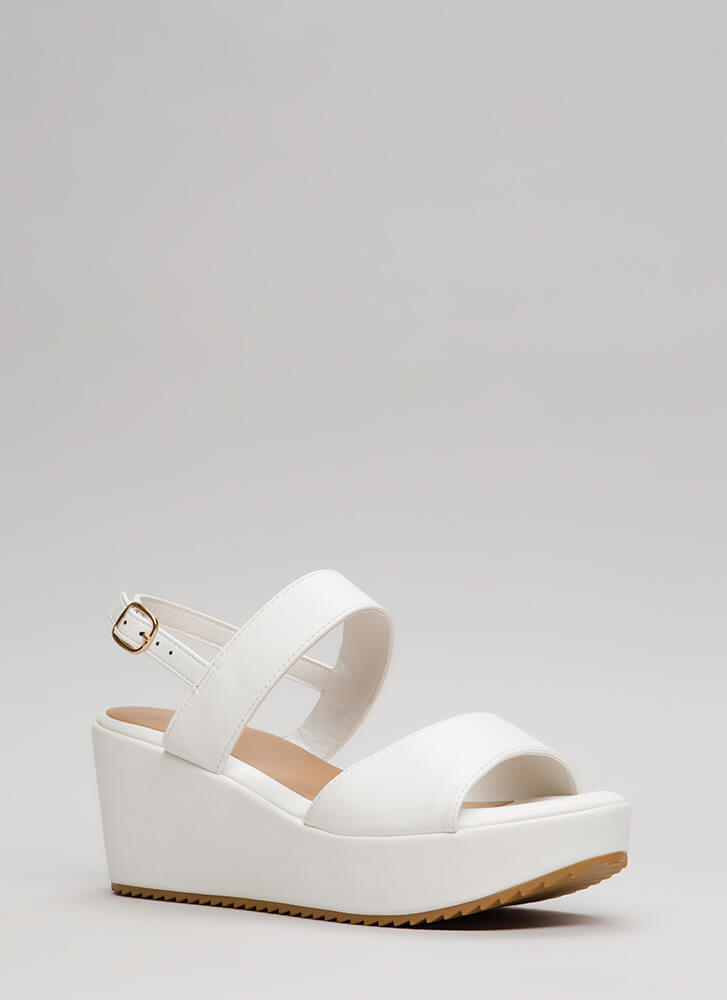 New Collection Faux Leather Wedges WHITE (Final Sale)