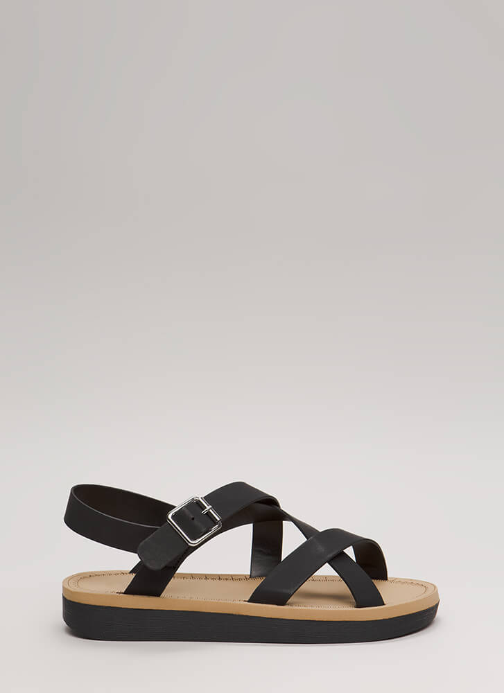 Sunday Stroll Strappy Caged Sandals BLACK