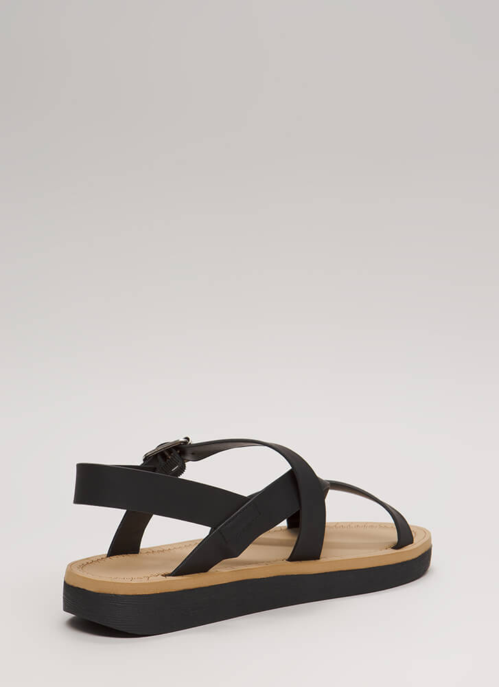 Sunday Stroll Strappy Caged Sandals BLACK (Final Sale)