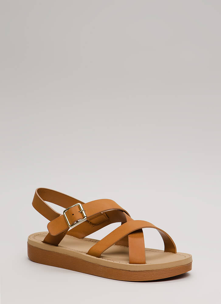 Sunday Stroll Strappy Caged Sandals TAN