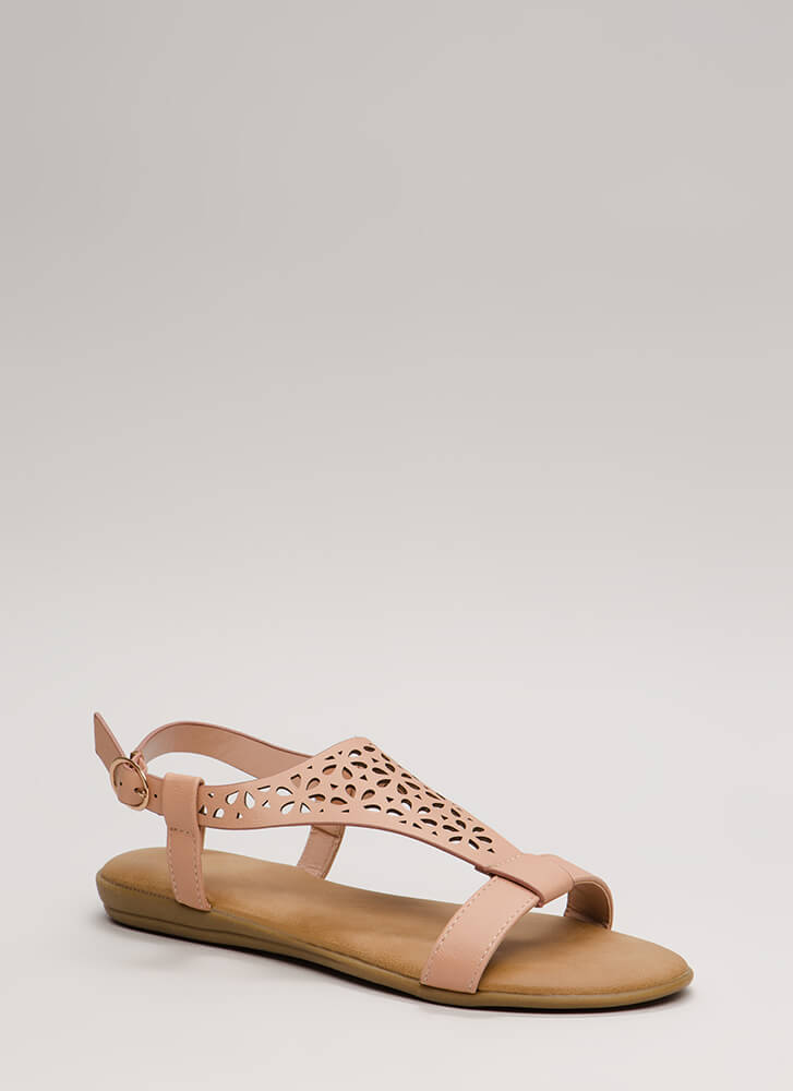 Flora Laser-Cut Faux Leather Sandals BLUSH