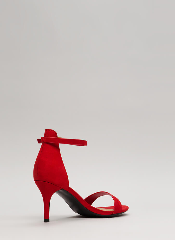 Short And Precise Faux Suede Heels RED (Final Sale)