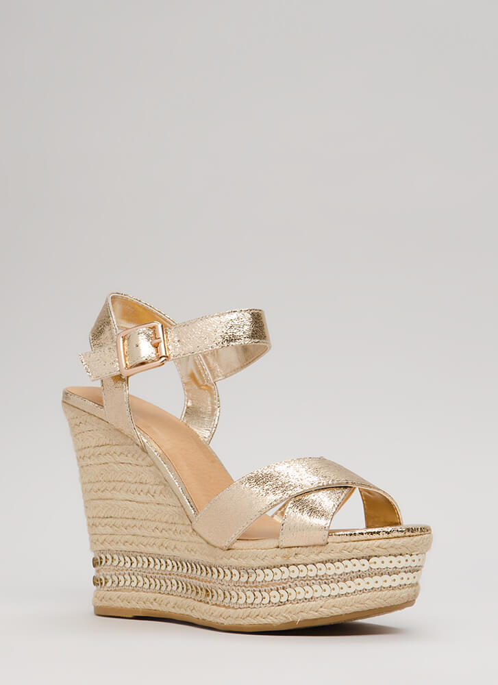 Shiny Things Sequined Espadrille Wedges GOLD