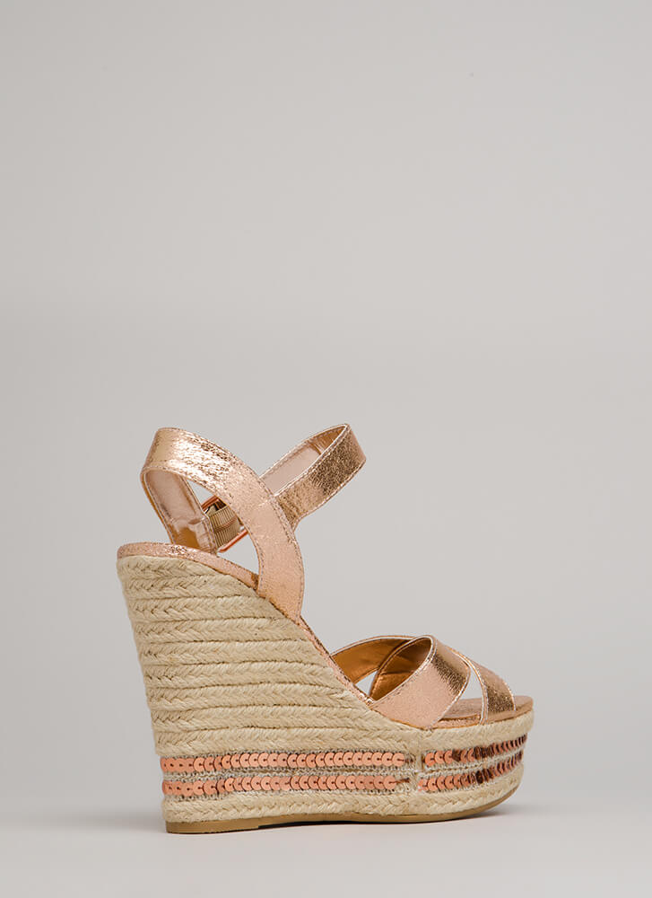 Shiny Things Sequined Espadrille Wedges ROSEGOLD (You Saved $21)