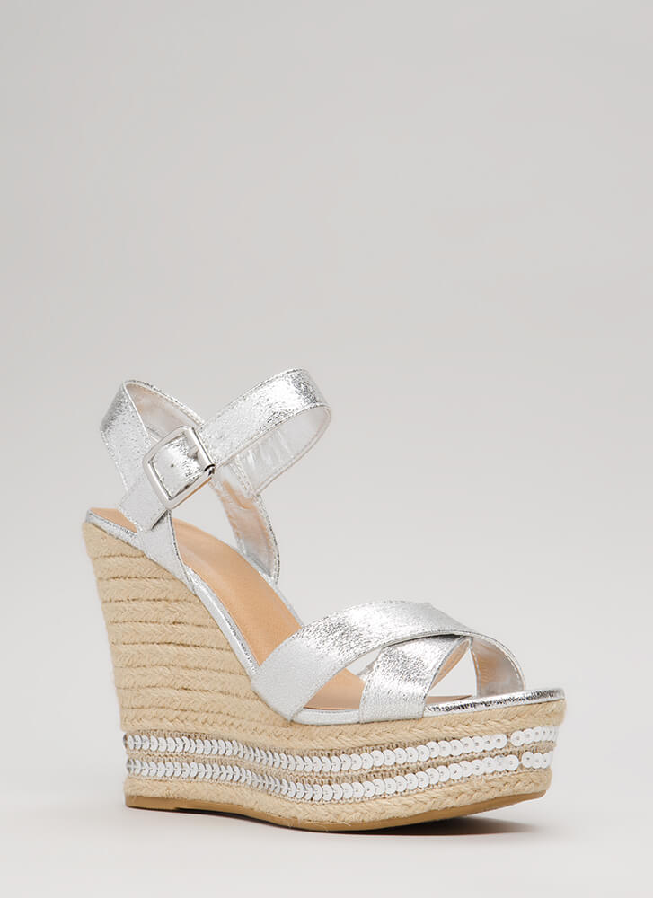 Shiny Things Sequined Espadrille Wedges SILVER (You Saved $21)