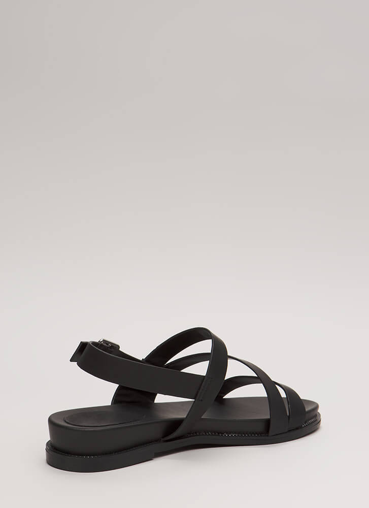 Supreme Style Studded Trim Sandals BLACK