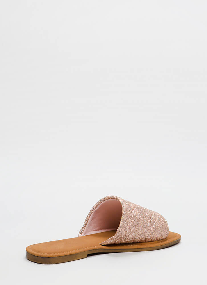 Quilty Pleasures Glittery Slide Sandals ROSEGOLD