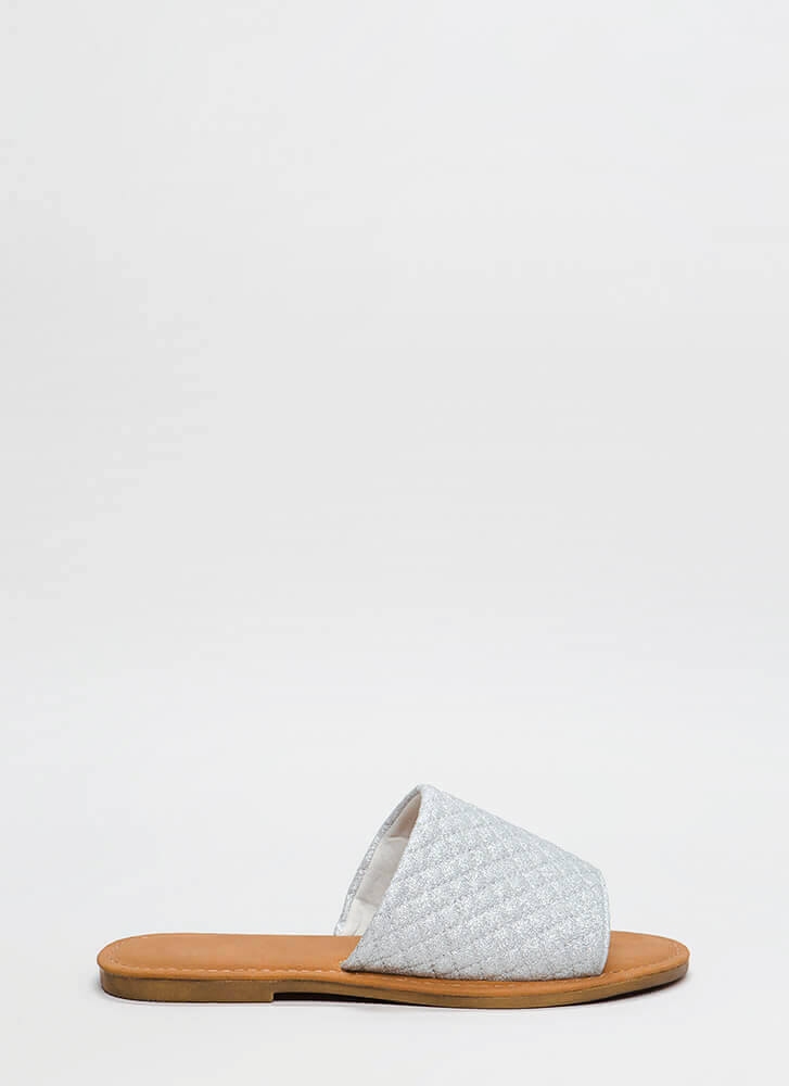 Quilty Pleasures Glittery Slide Sandals SILVER (You Saved $9)