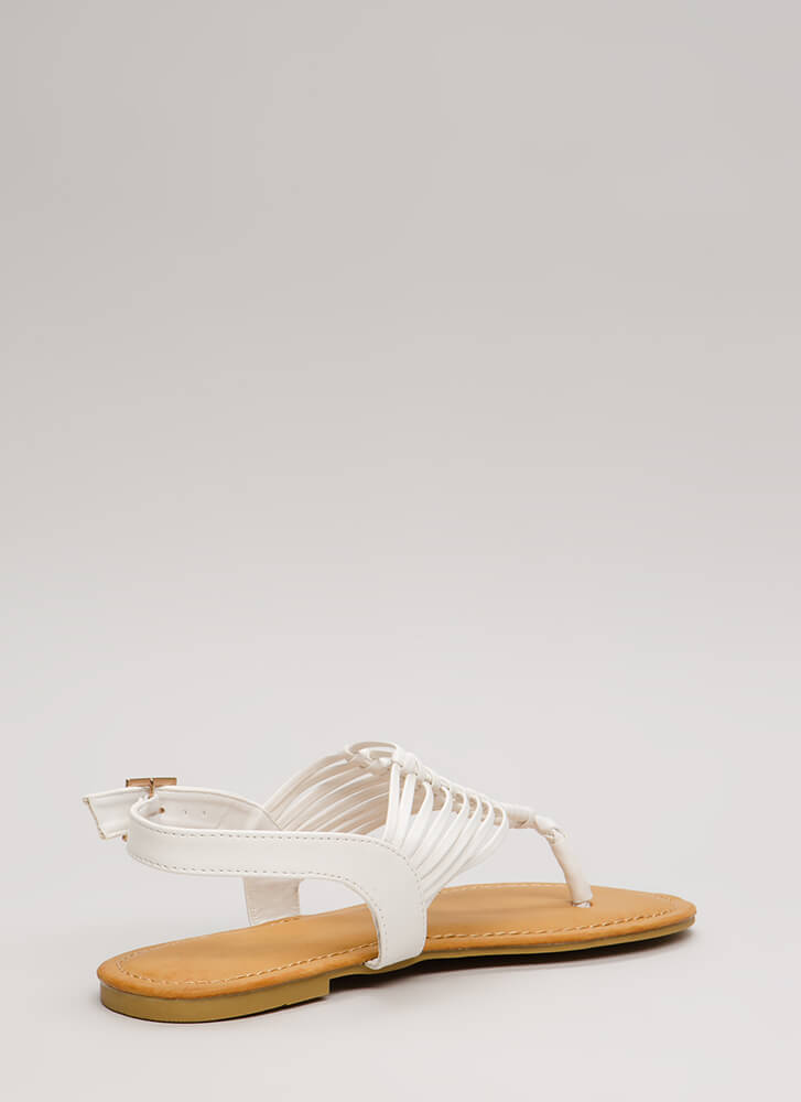 Forever Festival Woven Thong Sandals WHITE