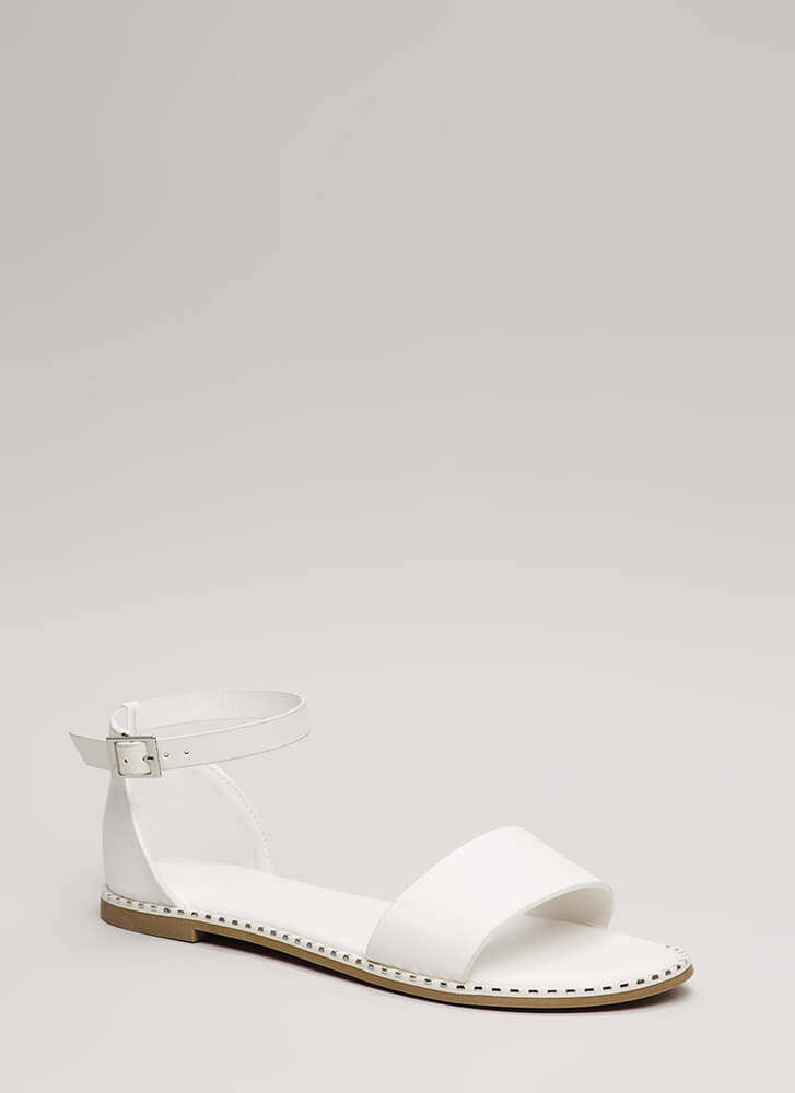 Maximum Style Strappy Trimmed Sandals WHITE
