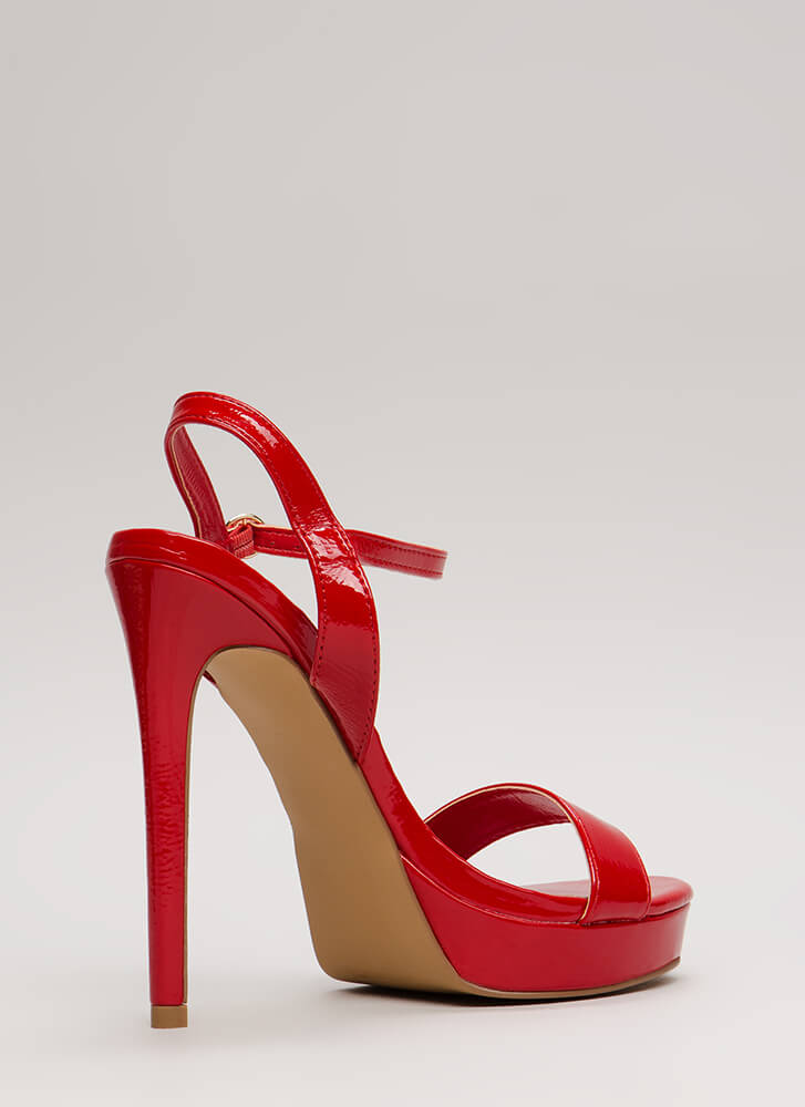 Back To Cali Faux Leather Platforms RED