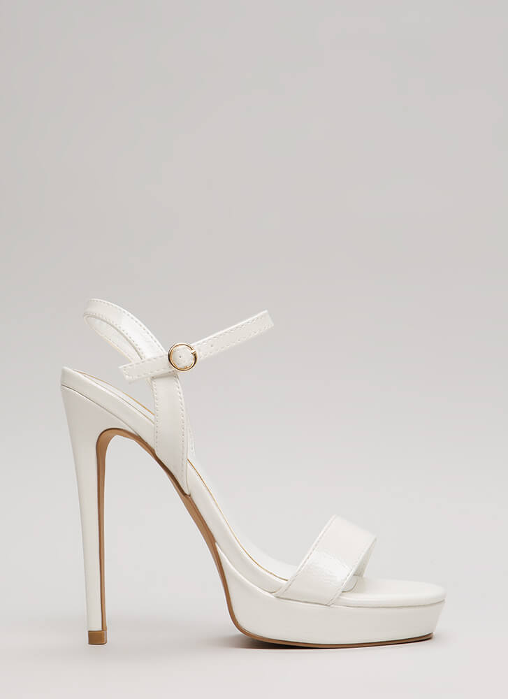 Back To Cali Faux Leather Platforms WHITE