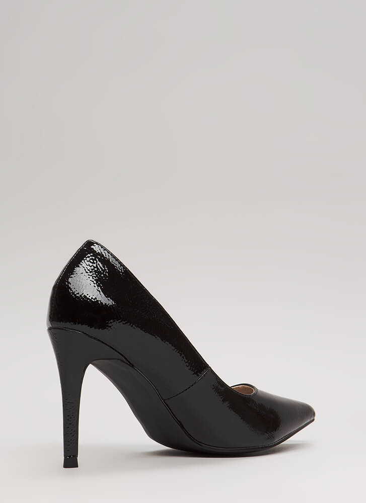 A-Ha Moment Pointy Faux Patent Pumps BLACK