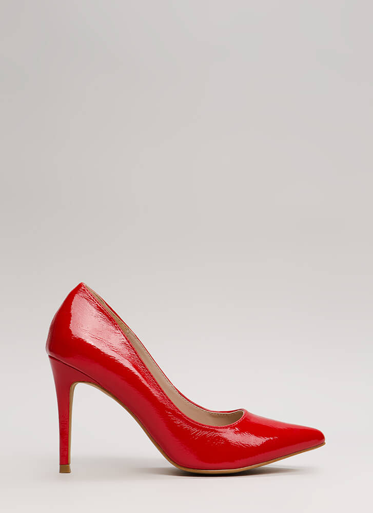A-Ha Moment Pointy Faux Patent Pumps RED