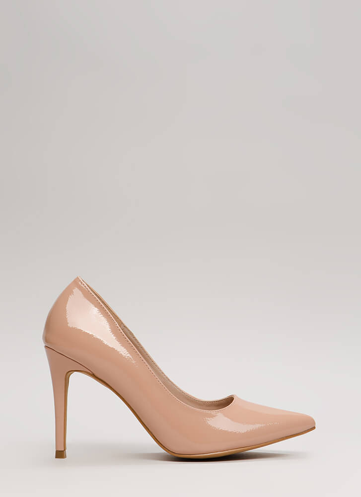 A-Ha Moment Pointy Faux Patent Pumps TAUPE