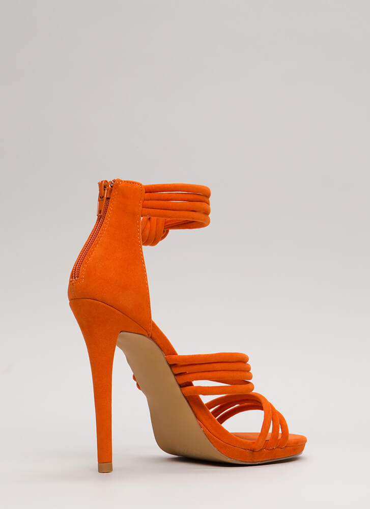 Knot Your Mama's Strappy Heels ORANGE