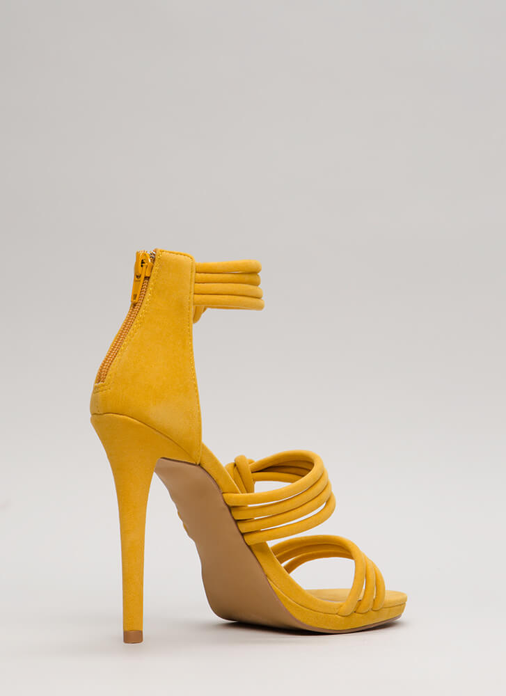Knot Your Mama's Strappy Heels YELLOW