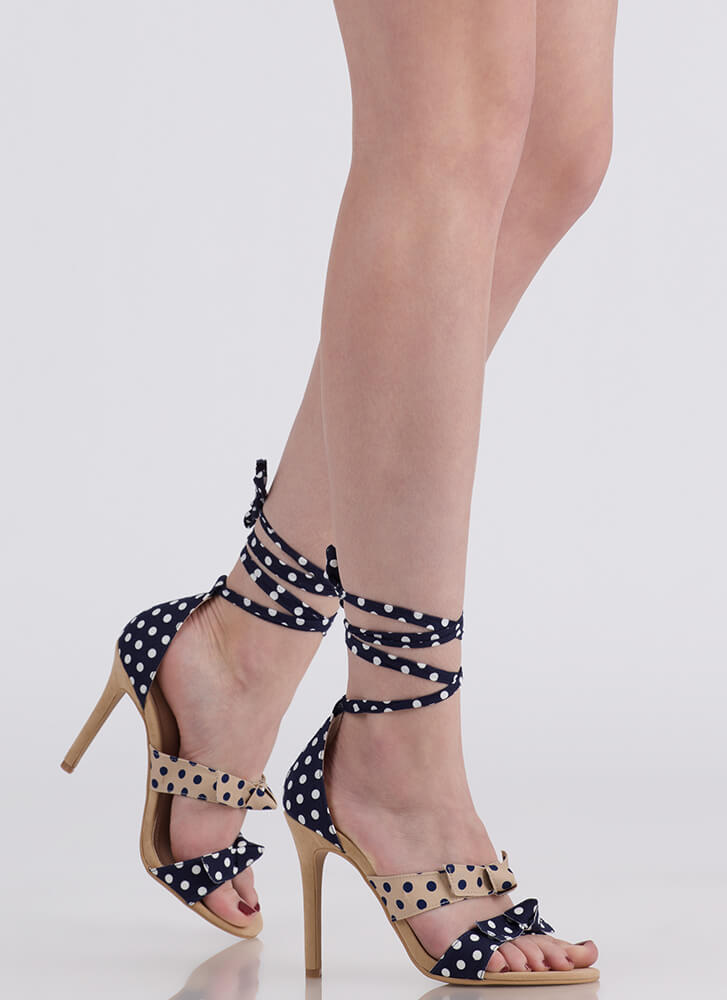 Pretty Bows And Polka Dots Lace-Up Heels NUDE