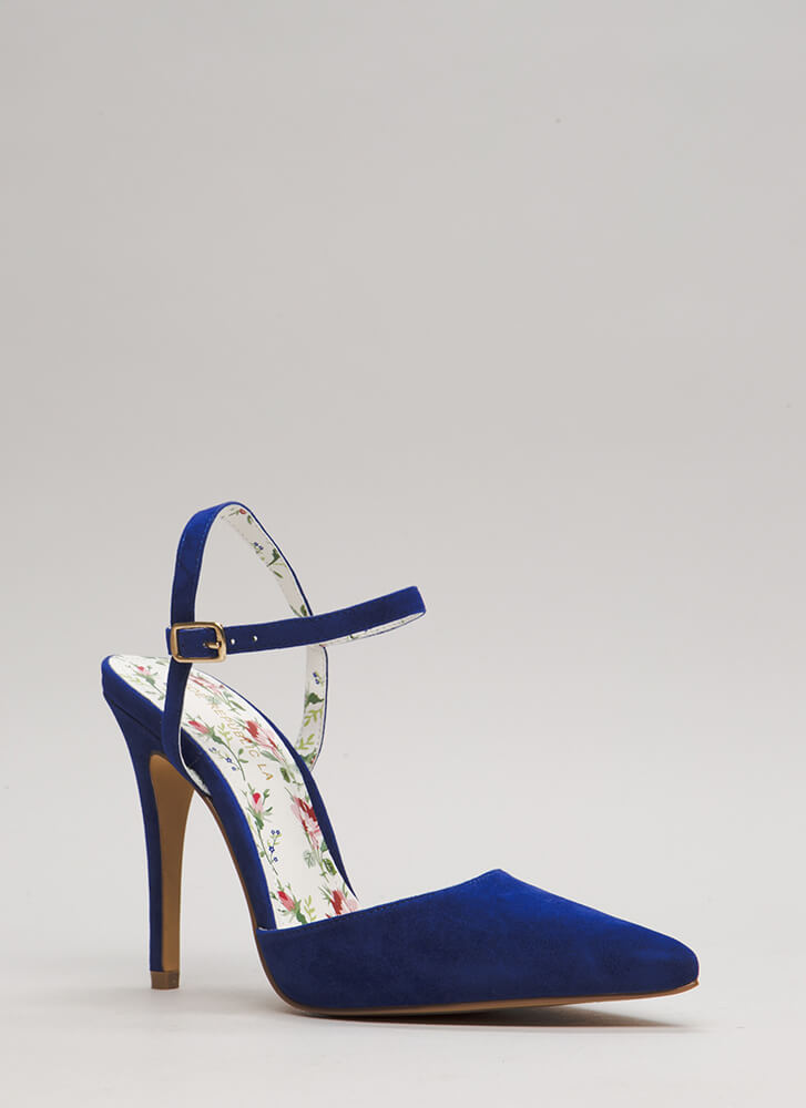 Lady Luck Pointy Strappy Heels BLUE