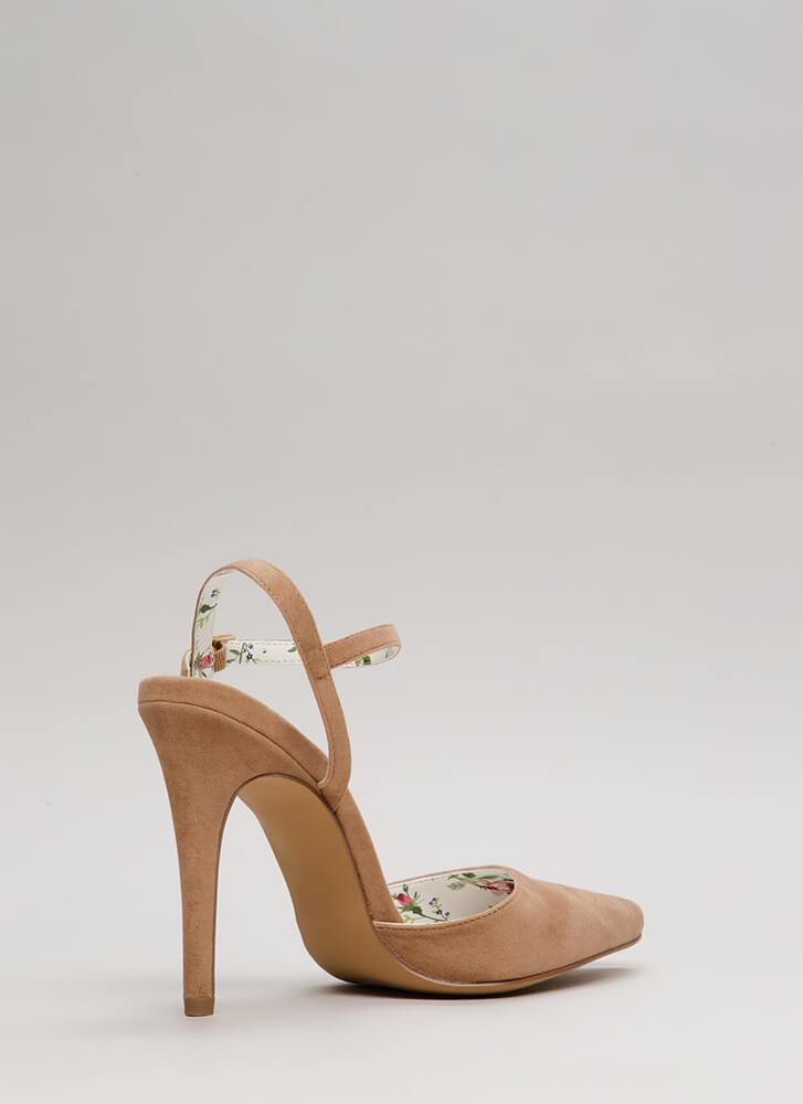 Lady Luck Pointy Strappy Heels TAUPE