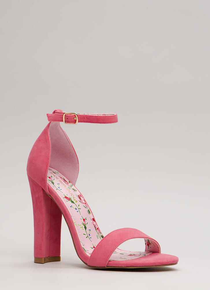 Picture Perfect Chunky Velvet Heels BLUSH