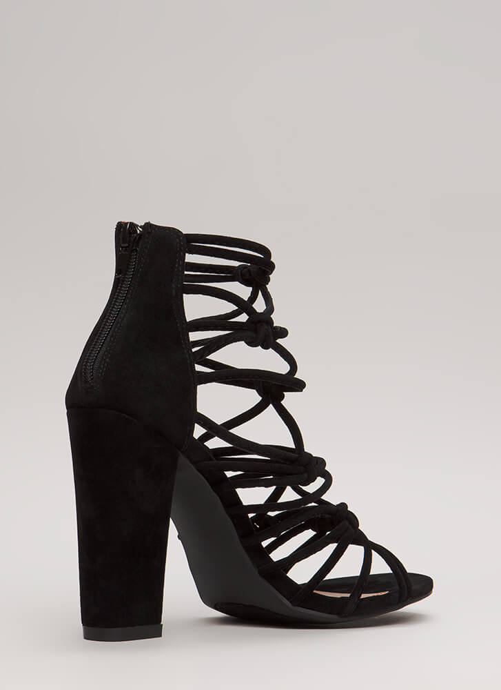 Knot In A Web Chunky Caged Heels BLACK