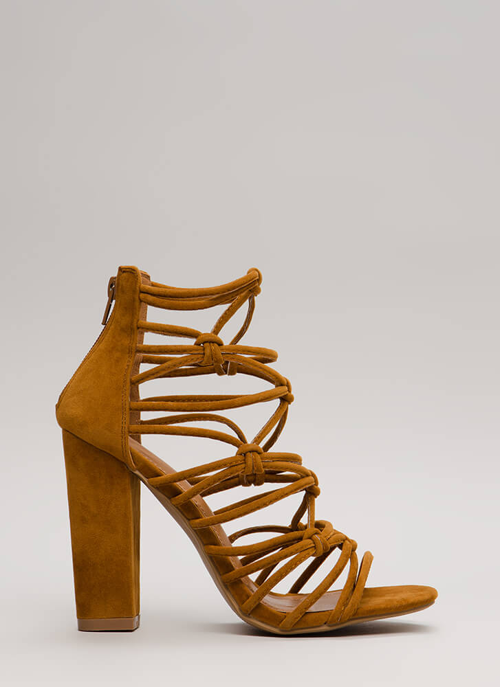 Knot In A Web Chunky Caged Heels CHESTNUT