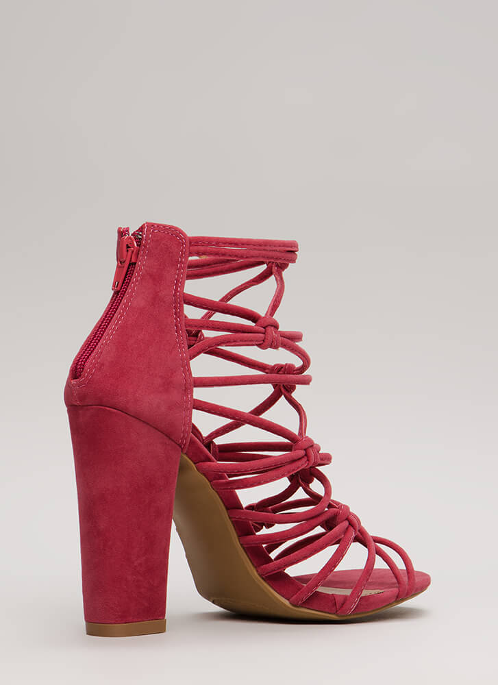 Knot In A Web Chunky Caged Heels PLUM