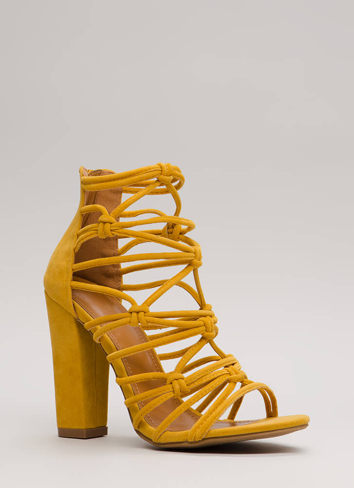 Knot In A Web Chunky Caged Heels YELLOW