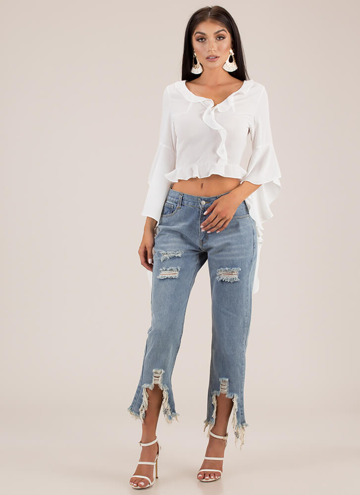New Drama Cropped Ruffled Blouse WHITE (Final Sale)