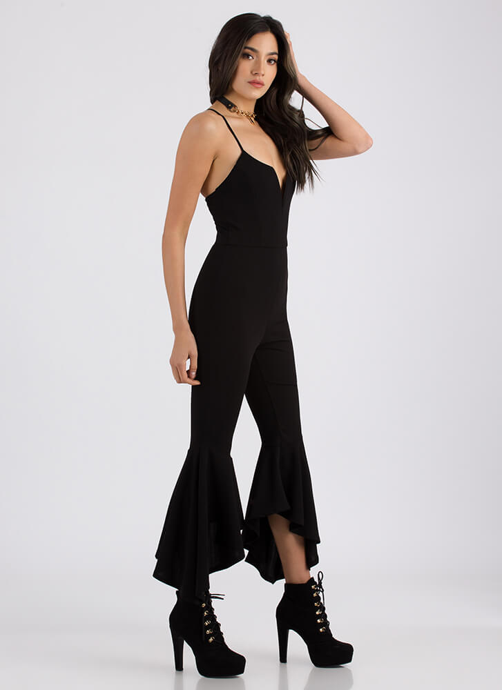 Dance Party Plunging Flared Jumpsuit BLACK