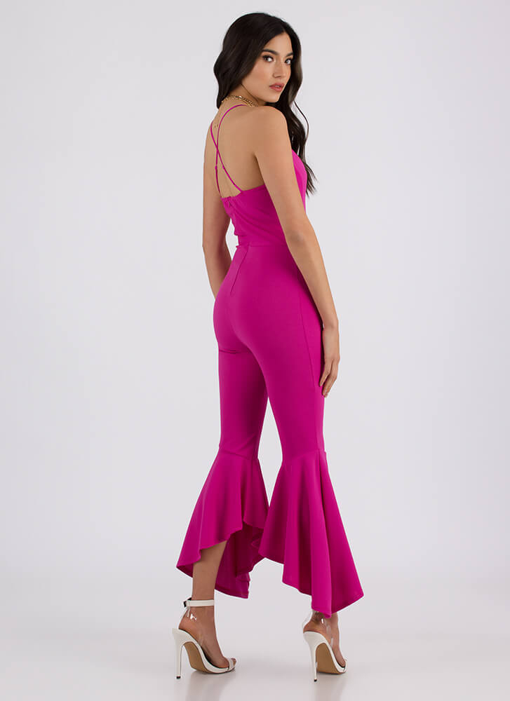 Dance Party Plunging Flared Jumpsuit FUCHSIA