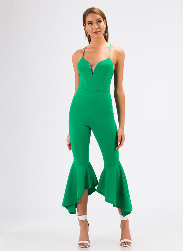 Dance Party Plunging Flared Jumpsuit KELLYGREEN