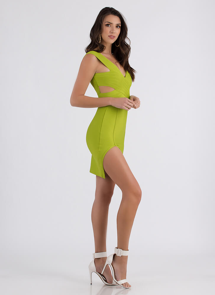 Don't Cross Me Slit Bandage Dress GREEN (Final Sale)