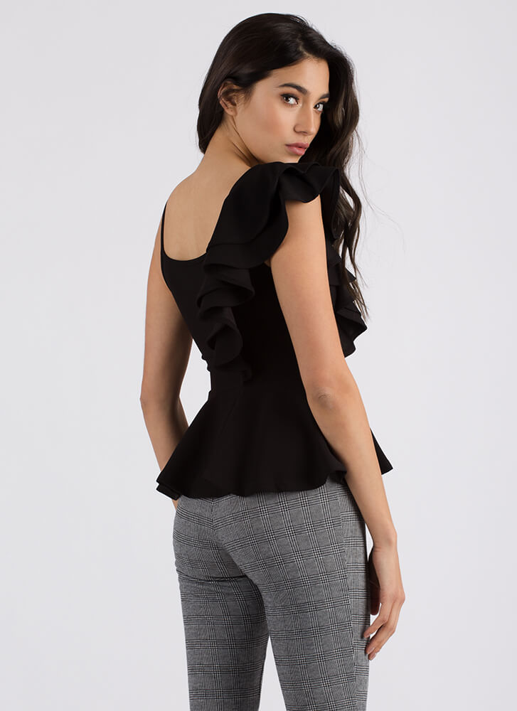 Frilly And Truly Ruffled Peplum Top BLACK