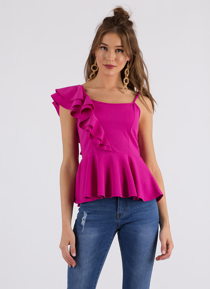 Frilly And Truly Ruffled Peplum Top FUCHSIA