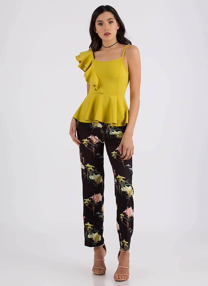 Frilly And Truly Ruffled Peplum Top MUSTARD