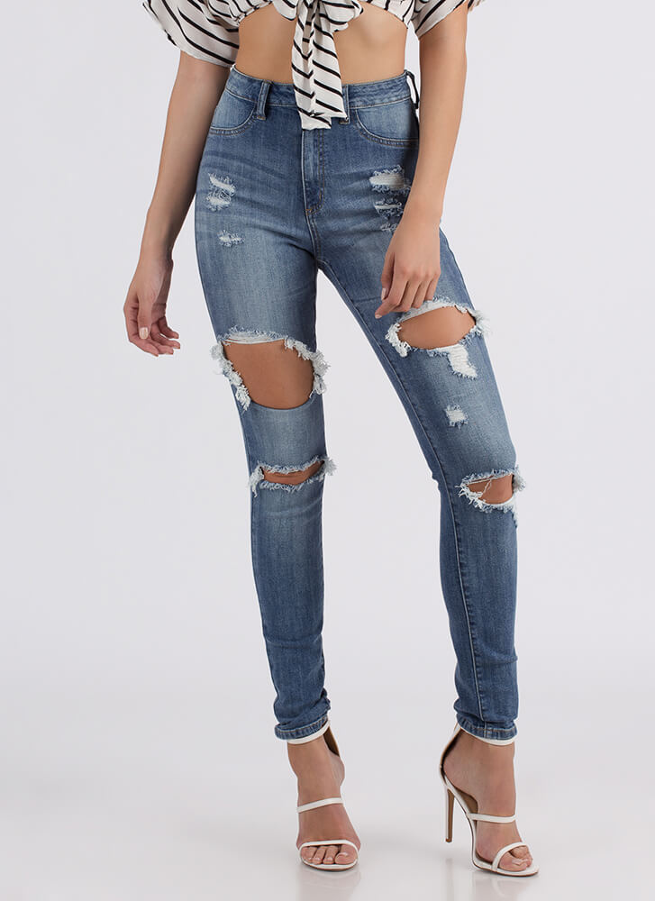 Hole New You Destroyed Skinny Jeans LTBLUE