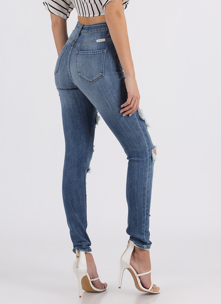 Hole New You Destroyed Skinny Jeans LTBLUE (You Saved $24)