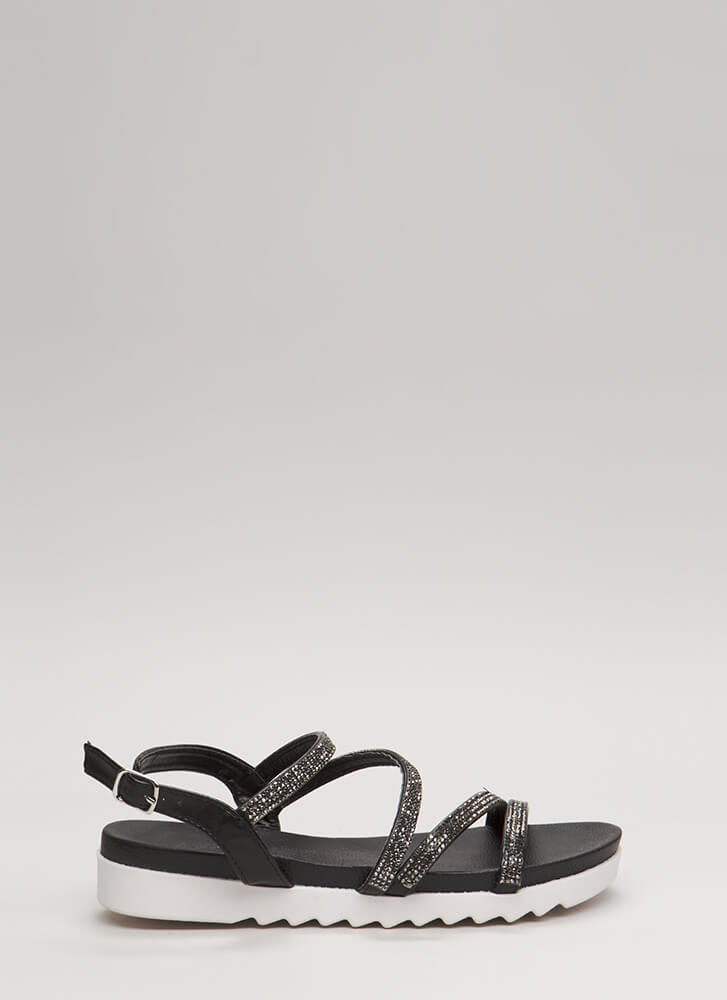 Four Good Jeweled Platform Sandals BLACK