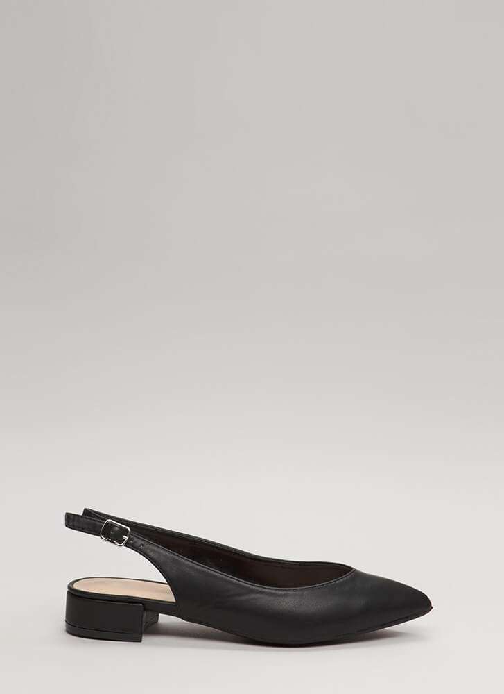 Bring Slingback Back Pointy Block Heels BLACK