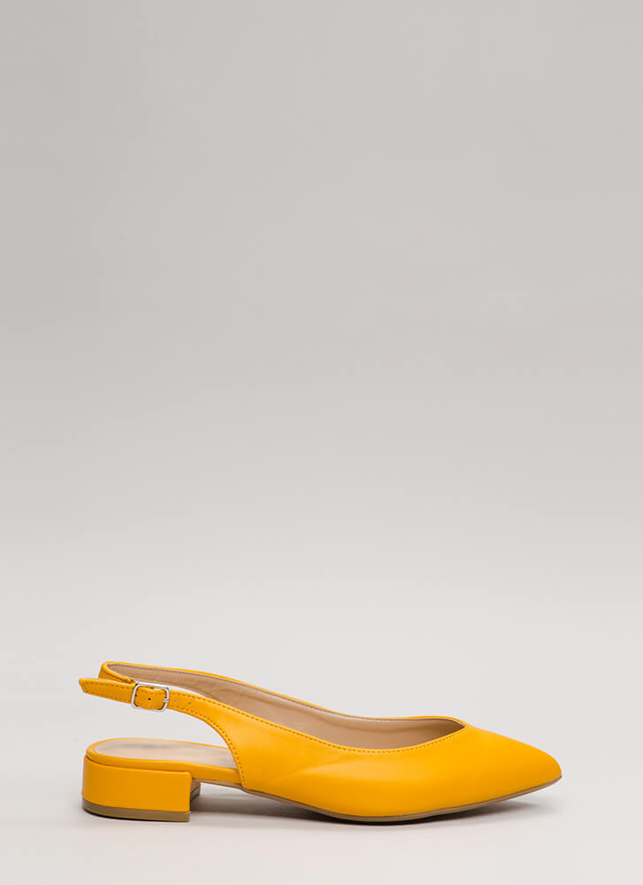 Bring Slingback Back Pointy Block Heels DKYELLOW